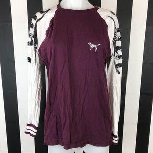 PINK VS Maroon Baseball Glitter Sleeves T Shirt